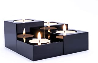 emu blu Crystal Candle Holders Black - Set of 4 Modern Tealights Votive Candle Holders for Table & Centerpiece Home Decor | Includes Satin Lined Gift Box