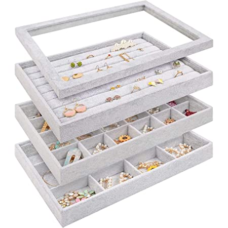 Mebbay Stackable Velvet Jewelry Trays Organizer Set with Clear Lid Jewelry Storage Display Trays for Drawer, Earring Necklace Bracelet Ring Organizer, Set of 4