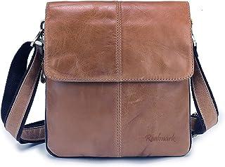 Realmark Herren Schultertasche aus echtem Leder, kapazitätsverstellbare Umhängetasche Travel Business Pack