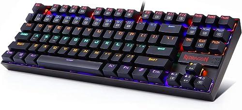 Redragon K552 60% Mechanical Gaming Keyboard Compact 87 Key Mechanical Computer Keyboard KUMARA USB Wired Cherry MX B...