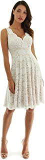 Women Floral Lace Overlay Fit and Flare Dress