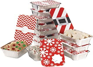 Gia's Kitchen 24 pc Santa's Belt Rectangle Foil Container Set, 12 containers 12 lids