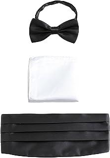 Men Satin Cummerbund & Bow Tie & Breast Pocket Handkerchief 3 in 1 Set for Wedding Party Ball Banquet Smoking Gentleman - ...