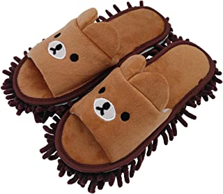 Selric Bear Image Super Chenille Microfiber Washable Mop Slippers Shoes for Women, Floor..
