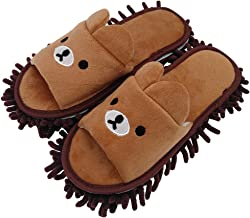 Selric Bear Image Super Chenille Microfiber Washable Mop Slippers Shoes for Women, Floor Dust Dirt Hair Cleaner, Multi-sizes Multi-Colors Available 10 1/4 Inches Size:9.5-10