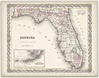 Map of Florida 1855-11×14 Unframed Art Print – Great Beach House Decor Under $15