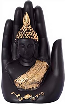 Hand Palm Buddha Statue | Sculpture for Home Decor |Meditating Monk Buddha Idol | Buddha showpieces | Lord Buddha Idols for car Dashboard, Gifts, Home & Showpieces & Figurines