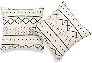Hofdeco African Mudcloth Cushion Cover ONLY, Light Cream Dots Dashes, 45cmx45cm, Set of 2