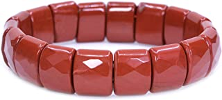 الأحجار الكريمة شبه الثمينة 15 مم مربع الحبوب الأوجه مطرز قابل للتمدد روك كريستال الإسورة 7.5 بوصة للجنسين