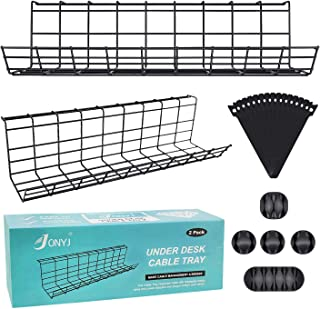 Under Desk Cable Management Tray, Cable Organizer for Wire Management, Metal Wire Cable Tray for Office and Home, 2 Pack S...
