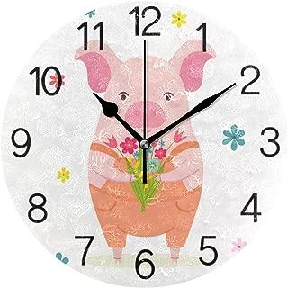 Chovy 掛け時計 置き時計 北欧 おしゃれ かわいい サイレント 連続秒針 壁掛け時計 インテリア 豚 おもしろ アニマル ホワイト 白 部屋装飾 子供部屋 プレゼント