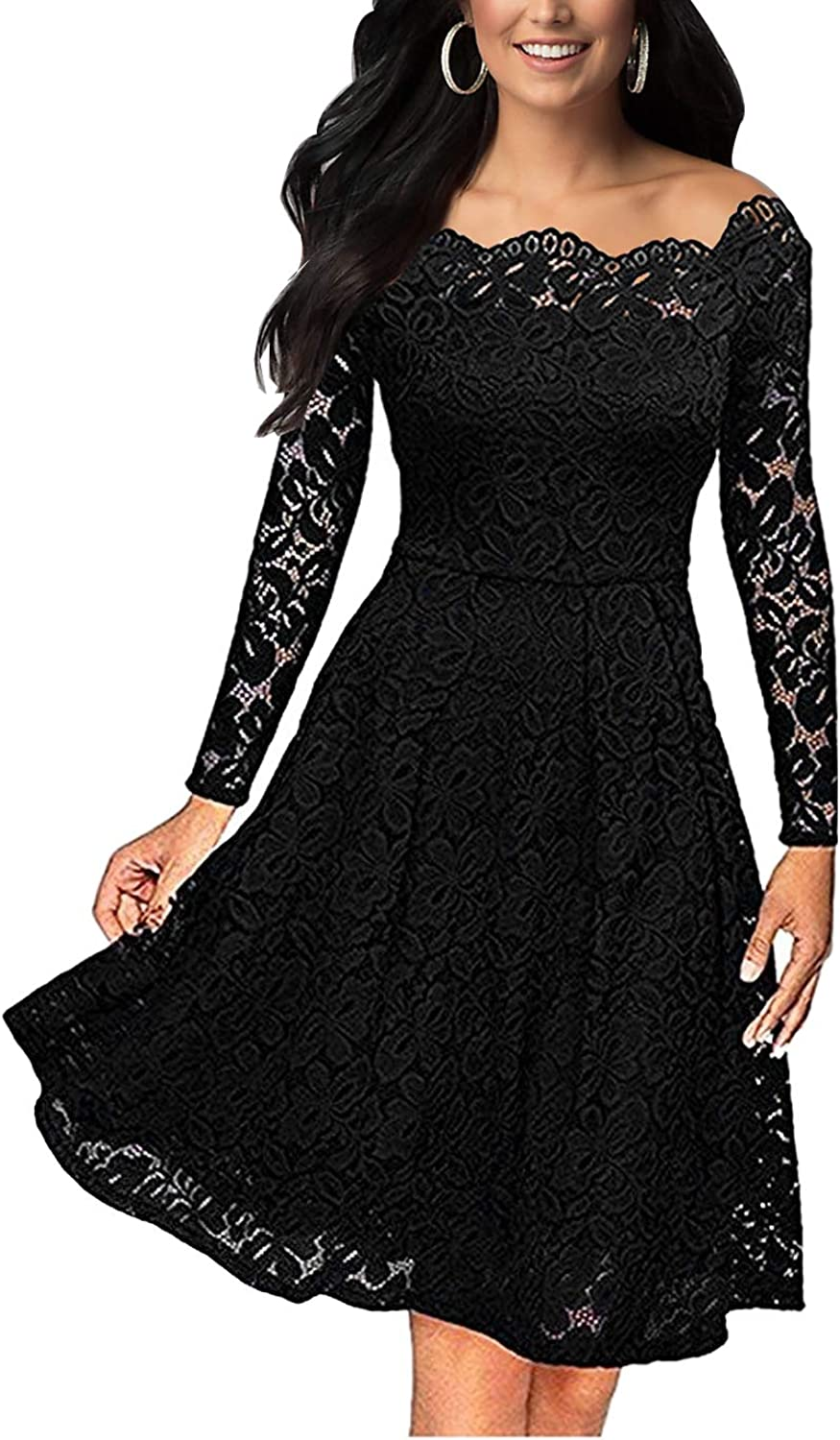 Women's Swing Dresses Long Sleeves Lace Off The Shoulder Gown