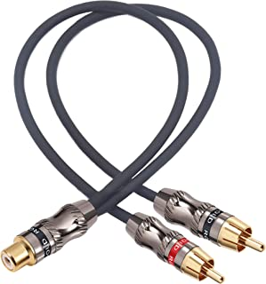 Devinal RCA/Phono Splitter Cable RCA Female to Dual Male Gold Plated Adapter, Stereo Audio Y-Cable Heavy Duty (1 Female to...