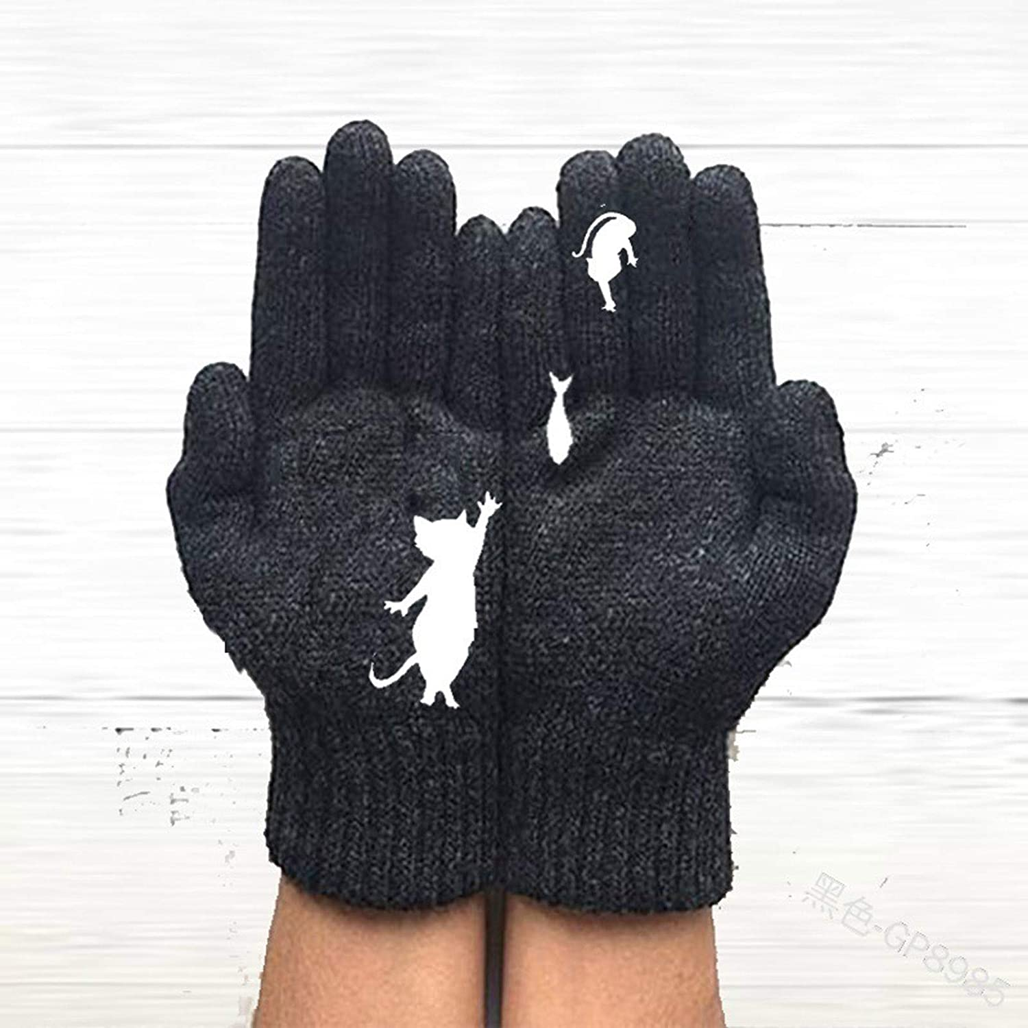 jayotai Women's Winter Warm Gloves Thermal Gloves Wool Knitted Mittens Cat Dog Printing Gloves Finger/Fingerless Ladies Girls Gloves for Cold Weather Outdoor Warm