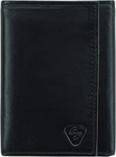 Leather RFID Wallets for Women + Men Trifold, Black
