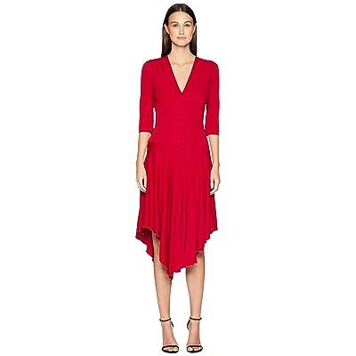Nicole Miller Stretchy Matte Jersey Asymmetrical Dress (Red) Women