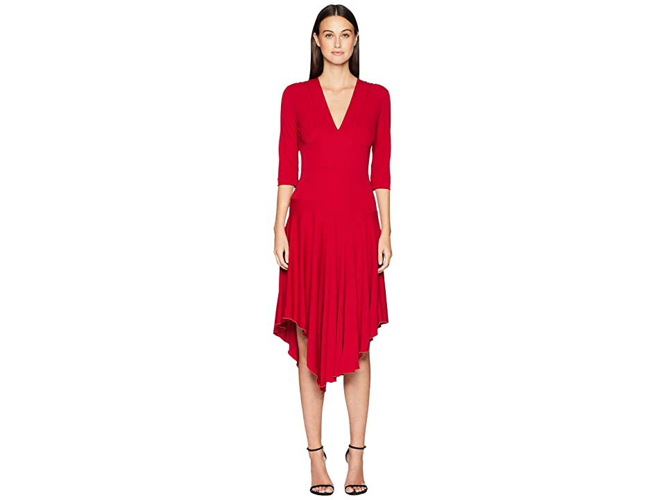 Nicole Miller Stretchy Matte Jersey Asymmetrical Dress (Red) Women