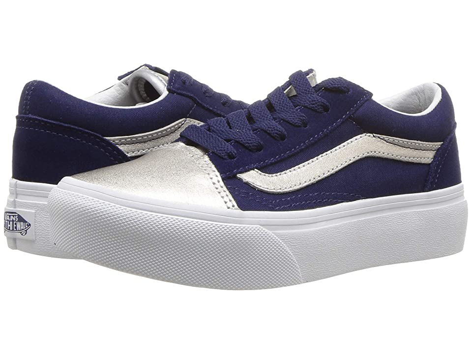 Vans Kids Old Skool Platform (Little Kid/Big Kid) ((Metallic Toe) Medieval Blue/Silver) Girls Shoes