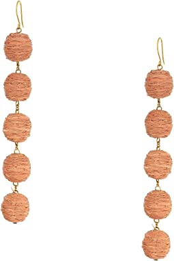 5 Tier Raffia Pom Pom Earrings
