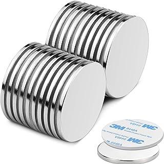 Aimants en néodyme auto-adhésifs de 20 pièces de 32 x 2 mm, aimant à disque rond N52 puissant avec ruban adhésif - pour le...