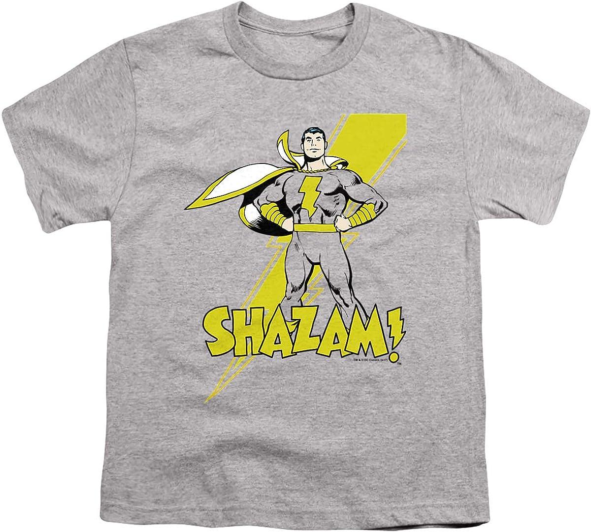 DC Shazam! Unisex Youth T Shirt, Athletic Heather, Medium