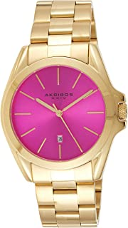 Akribos Xxiv Women's Quartz Watch, Analog Display and Stainless Steel Strap Ak948Ygpk, Gold Band