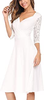 Women's Vintage V-Neck Lace 3/4 Sleeve Wrap Pleated A-line Swing Cocktail Party Dress