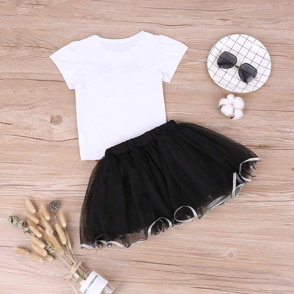 for 2-7 Years Toddler Baby Girls Eyes Print Pearl Short Sleeve Tshirt Tops+Tulle Tutu Skirt 2pc Outfit Set