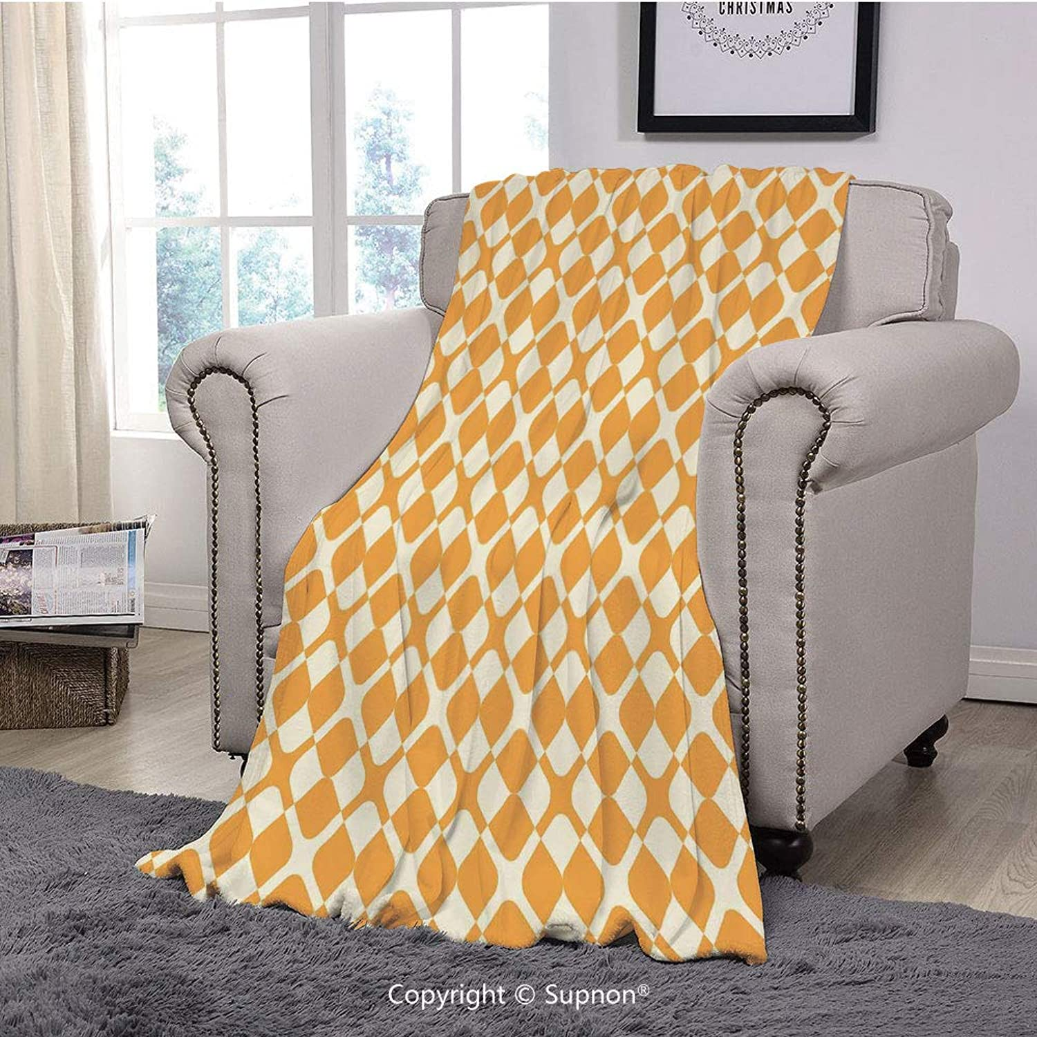 BeeMeng Printing Blanket Coral Plush Super Soft Decorative Throw Blanket,Kids,Abstract Diagonal Checked Tile Pattern with Different Shabby colord Cross Lines,Marigold Cream(59  x 59 )