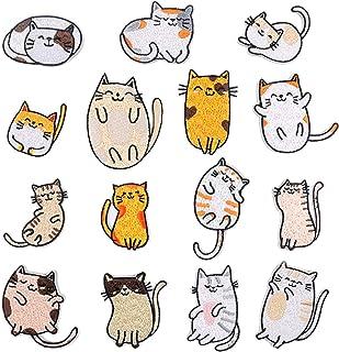Toppe termoadesive con gatto ricamate 15 pezzi toppe ricamate per toppe per bambini per abbigliamento fai da te, jeans, gi...