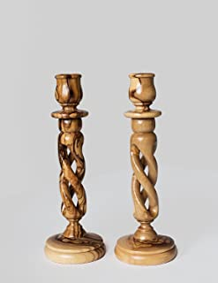 Pair of Olive Wood Hollow Twist Candle Holders