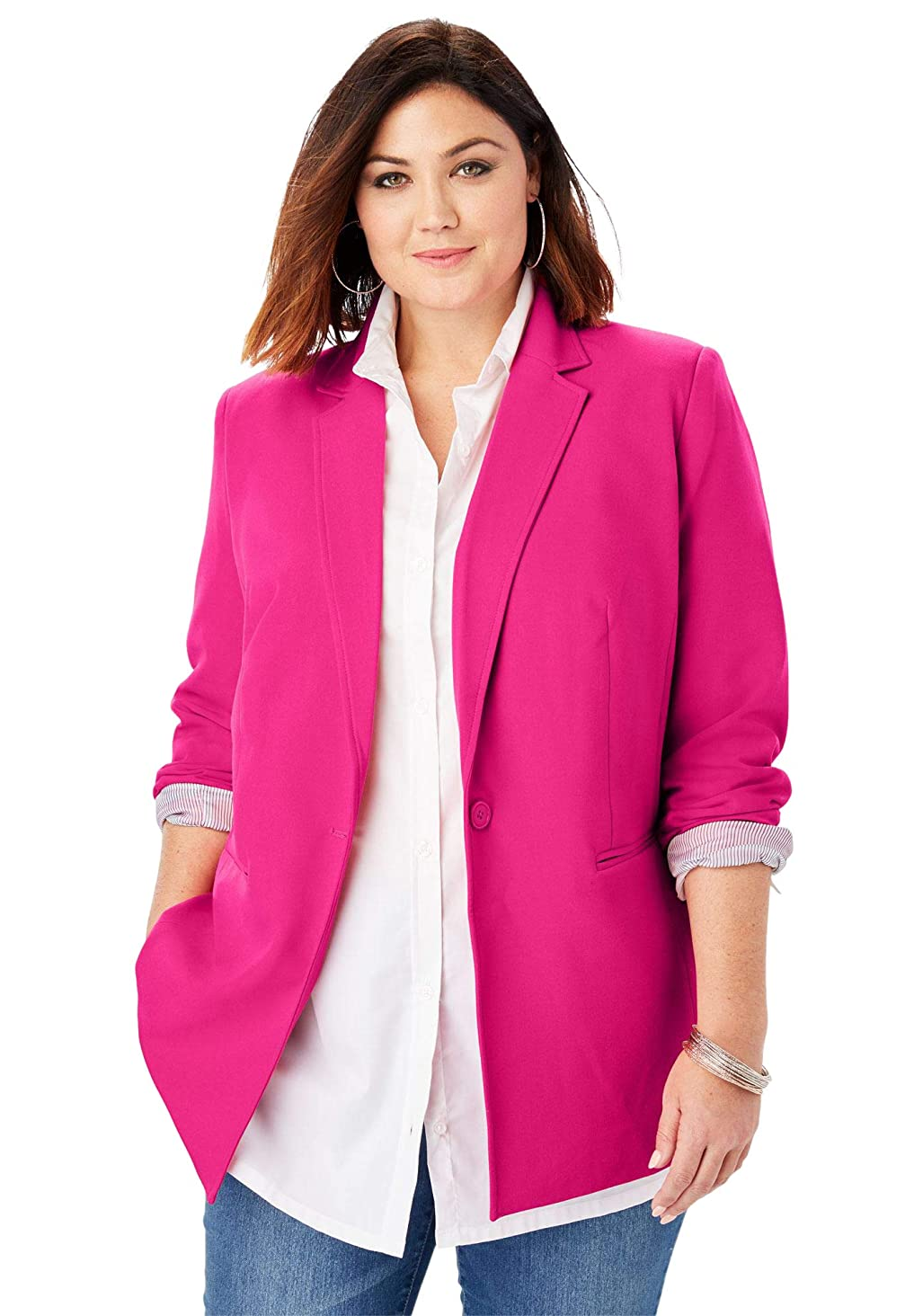 Roamans Women's Plus Size Modern Stretch Blazer