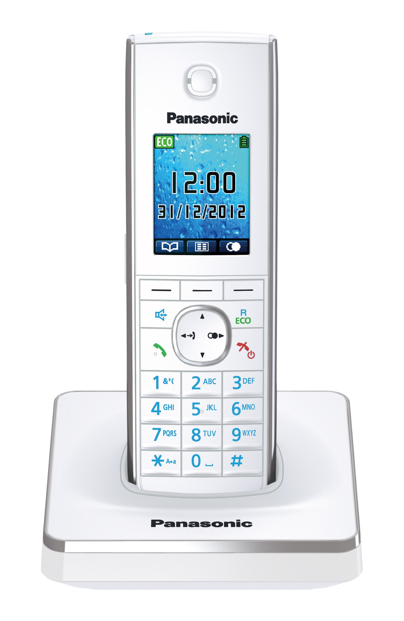 Panasonic KX-TG8551GW - Teléfono inalámbrico, pantalla de 4.6 cm, 1.8