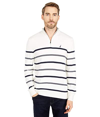 Nautica Navtech Stripe 1/4 Zip Sweater (Marshmallow) Men