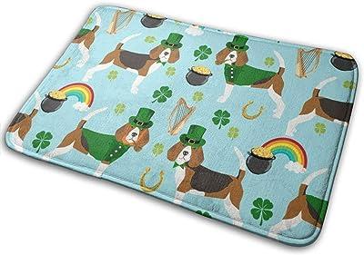 """Beagle Leprechaun St. Patrick's Day Dog Breed Blue_27511 Doormat Entrance Mat Floor Mat Rug Indoor/Outdoor/Front Door/Bathroom Mats Rubber Non Slip 23.6"""" X 15.8"""""""