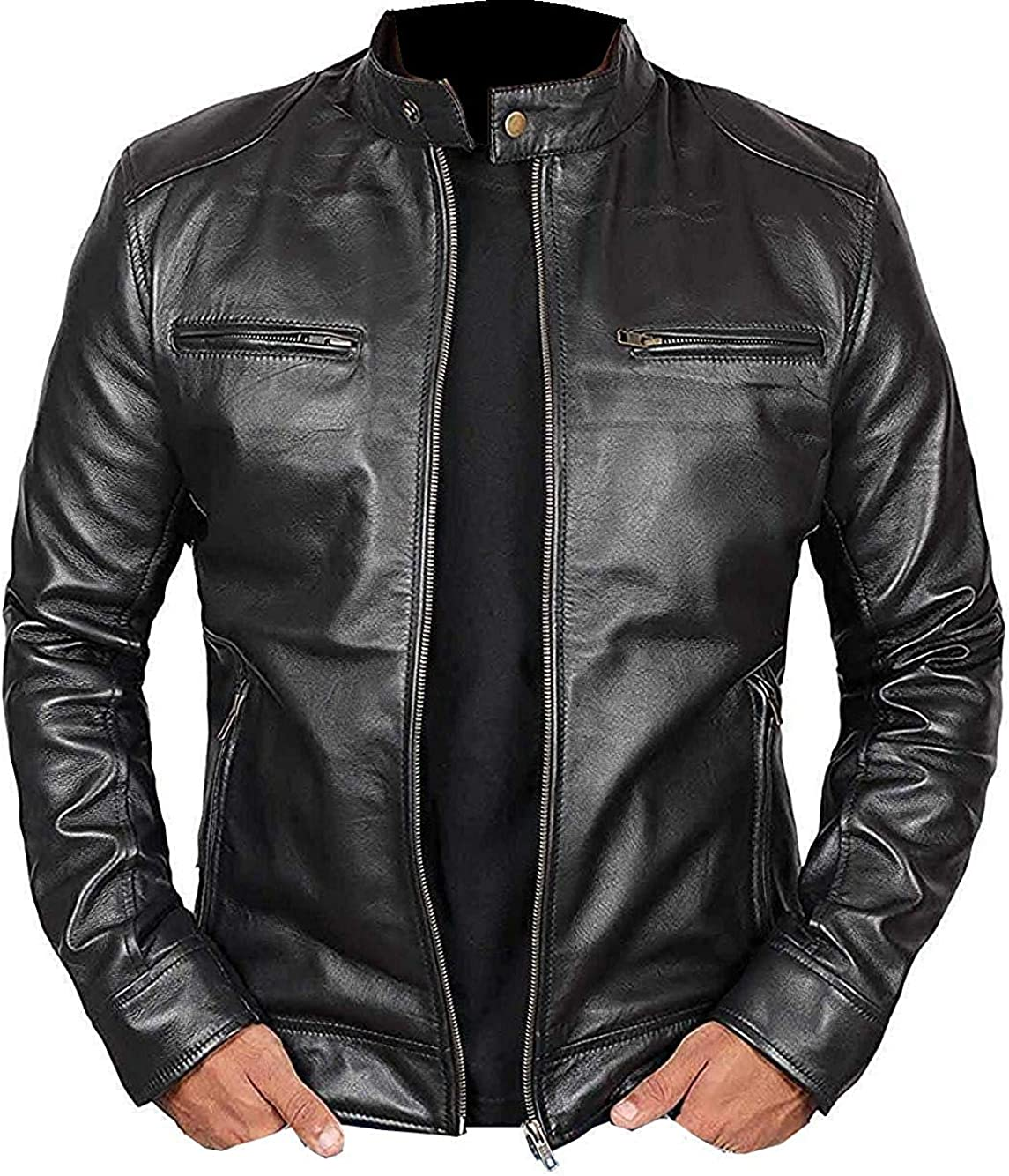 Febzo Fashions New Men Motorcycle Leather Jacket with Hoodie - Pure Lambskin Bomber Leather Jacket
