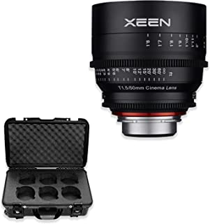 XEEN by ROKINON 50mm T1.5 Professional Cine Lens for Canon EF Mount (Black) with Rokinon Xeen 6-Lens Carry-On Case