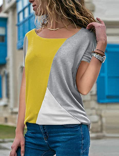 babyhealthy Womens Asymmetrical Neckline Color Block Short Sleeve Blouse Loose Patchwork Tee Shirt Tops