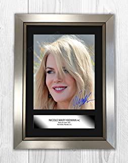 Engravia Digital Nicole Kidman Poster Signed Autograph Reproduction Photo A4 PrintSilver Frame