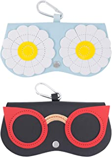 SnowTing 2 PCS Cute Sunglasses Cases, Portable PU Leather Eyeglass Case Box Pouch Protection from Getting Scratches Lightw...