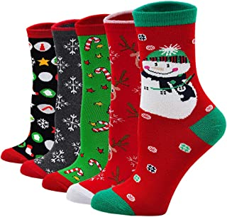 Calcetines de Navidad Mujer Calcetines de Algodón, Calcetines Termicos Mujer Calcetines de Animales Lindos Divertidos, Regalo de Navidad para Mujer, 5 Pares