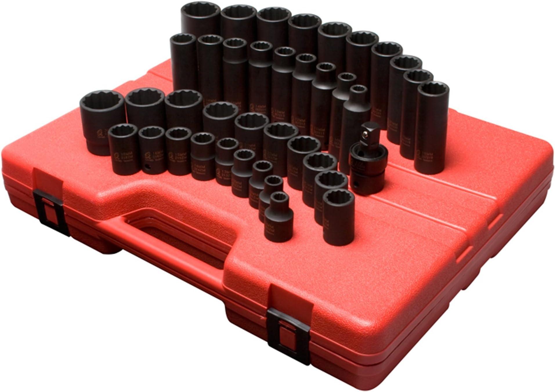 Standard//Deep TUZkozs 9mm Universal Joint /& Impact Extensions Heavy Duty Storage Case Cr-Mo Alloy Steel 30mm 1//2 Drive Master Impact Socket Set Radius Corner Design 43Piece Metric