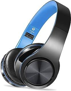 سماعة رأس لاسلكية مع ميكروفون، سماعة بلوتوث قابلة للطي مع مقبس صوت 3.5 مم، ميكروفون مدمج لإلغاء الضوضاء، يدعم بطاقة التوصي...