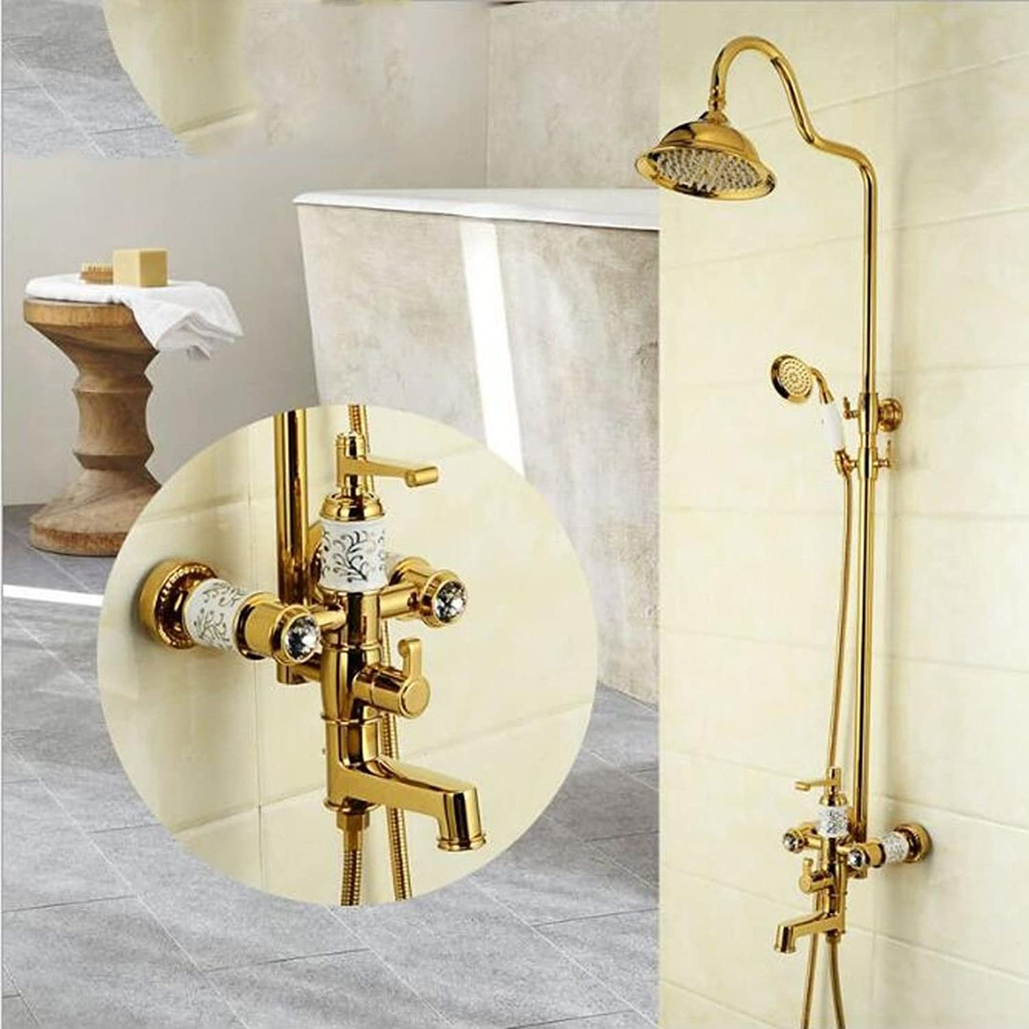 Kitchen Or Bathroom Sink Mixer Tap The Quartet Managed Water Tap Full Copper Sink Cold-Hot-Cold-Water Washing Dishes In A Bathtub Water Tap Brushed Copper Plating A Single Cold Big Bend +60Cm Water Inlet Pipe