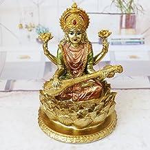 BangBangDa Hindu Lord Goddess Saraswati Statue - Indian Idol Sitting on Lotus Sculpture - India Knowledge, Music, Arts, Wi...