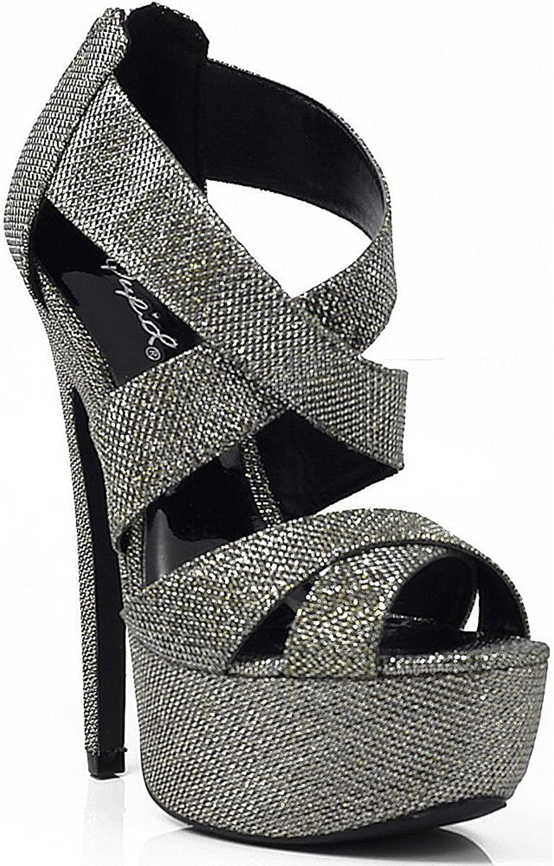 Women's Qupid Glitter Strappy Platform High Heels Sandal Pump