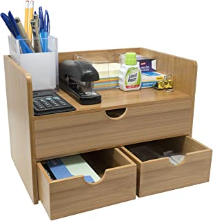 $29 » Sorbus 3-Tier Bamboo Shelf Organizer for Desk with Drawers — Mini Desk Storage for Office Supplies, Toiletries, Crafts, etc — Great for Desk, Vanity, Tabletop in Home or Office