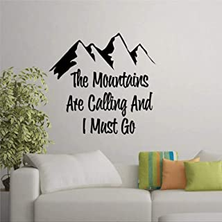 VVWV The Mountains are Calling and I Must Go Peel and Stick Decal Adventure Quote Wall Decal Sticker for Bedroom Living Ro...
