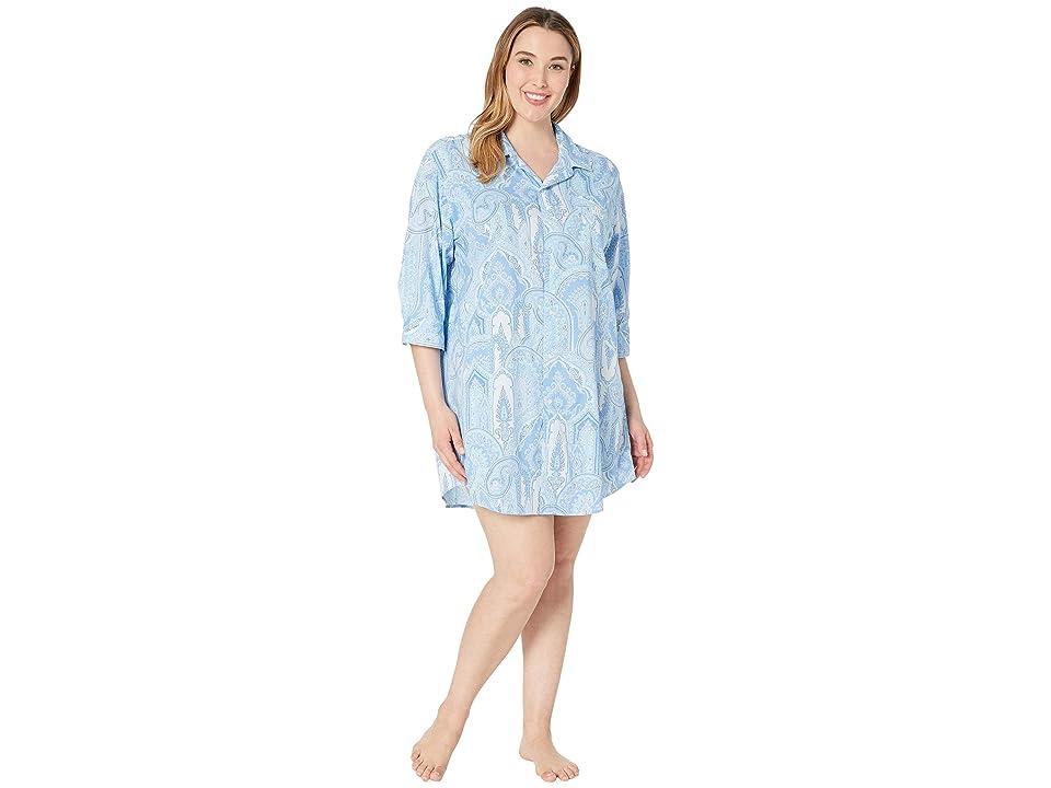 LAUREN Ralph Lauren Plus Size 3/4 Sleeve His Shirt Sleepshirt (Blue Paisley) Women