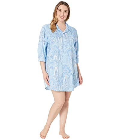 LAUREN Ralph Lauren Plus Size 3/4 Sleeve His Shirt Sleepshirt (Blue Paisley) Women